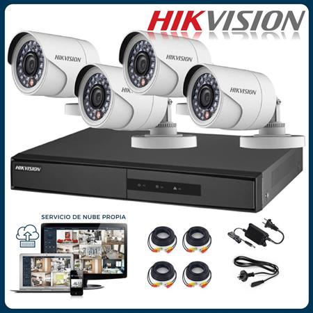 KIT DVR+4CAMARAS+CABLES+HDD1TB+FUENTE HIKVISION